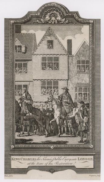 THE RESTORATION Charles II rides into London watched from the windows