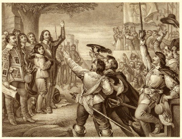 CHARLES RAISES HIS STANDARD near Nottingham : the future Charles II is at his side