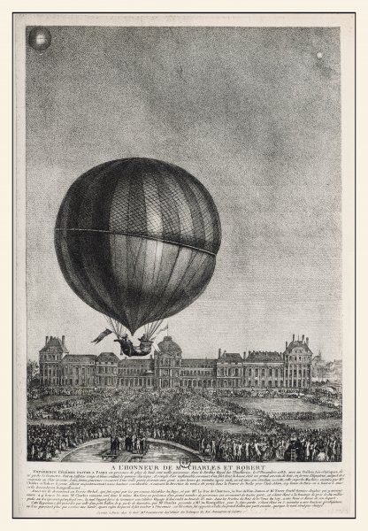 Celebrated flight from Tuileries Garden by J.A.C. Charles, and Louis- Nicolas Robert