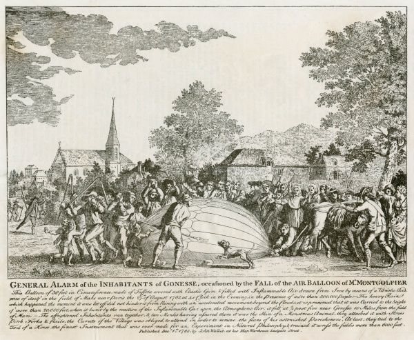 Unmanned balloon, filled with 'inflammable Air drawn from Iron by means of a Vitriolic Acid' travels from the Champ de Mars to Gonzesse where it is attacked by peasants