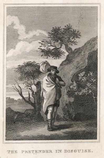 CHARLES STUART THE YOUNG PRETENDER Bonnie Prince Charlie disguised as a poor traveller in 1746