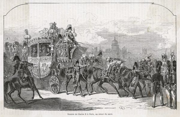 Charles X returns to Paris after being crowned at Reims. Date: 29 May 1825