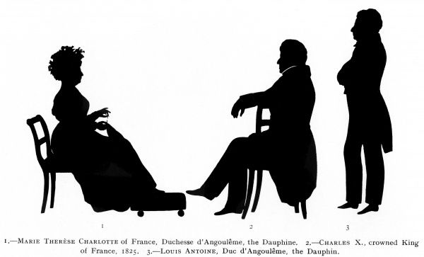 Silhouette portraits of Charles X, crowned King of France in 1825, together with his daughter, Marie Therese Charlotte of France, the Dauphine and the Dauphin, Louis Antoine, Duc D'Angouleme. These portraits were cut by the famed silhouettist