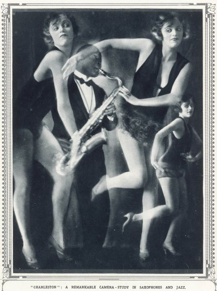 An expressionist photograph capturing the spirit of the 1920s with a charleston dancer, and a black saxophone player capturing the atmosphere of jazz admirably