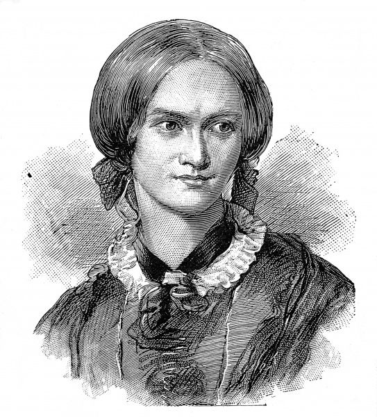 Engraved portrait of Charlotte Bronte (1816-1855), the English writer who used the pseudonym 'Currer Bell&#39