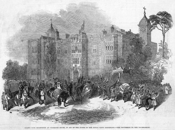 Across the Heath from our Library, Charlton House is frequently the scene of such events as this fete in aid of the Royal Kent Dispensary, featuring a tournament