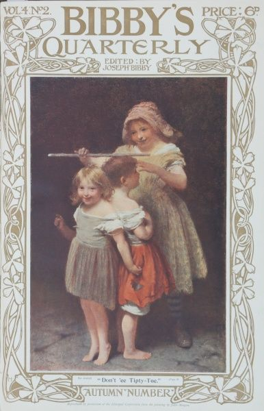 Charming illustration by John Morgan (1823-1885) first exhibited at the Royal Academy in 1885 showing two small children being measured in height by an older sibling, who is warning them not to stand on tip toes