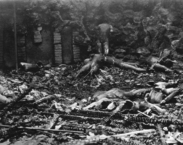 Charred and mutilated wax figures in the sports group after fire ravaged Madame Tussauds waxworks exhibition in the building on Marylebone Road, London. Date: March 1925