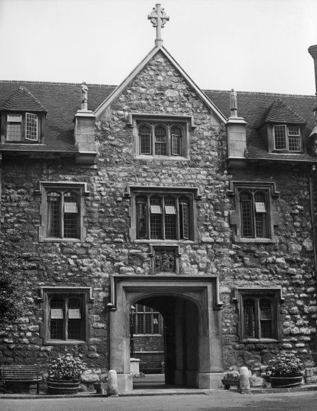 The Gatehouse of Charterhouse, London. Founded in 1371 as a Carthusian monastery, this fine building was endowed as a school in 1611. Transferred to Godalming, Surrey, in 1872. Date: founded 1371