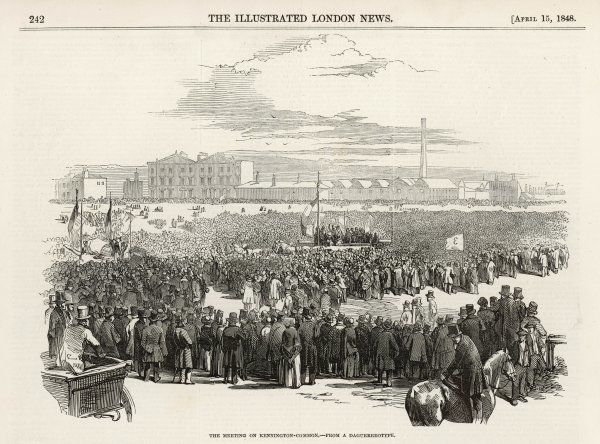 The Chartist demonstration : the meeting on Kennington Common, London