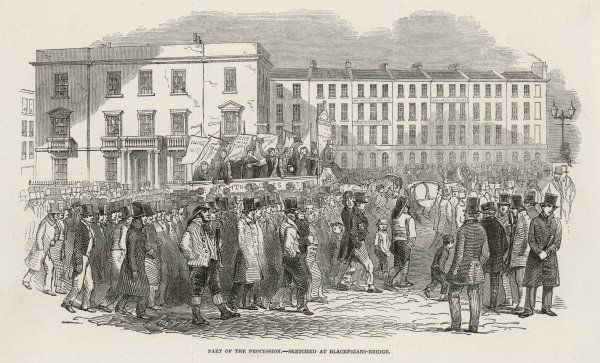 The Chartist demonstration : the procession at Blackfriars Bridge, London