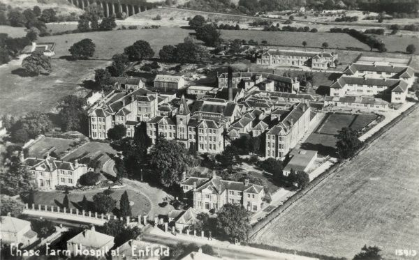 Aerial view of Chase Farm Hospital in Enfield, Middlesex