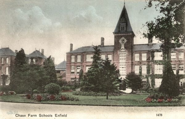 The main building of the Chase Farm Schools in Enfield, Middlesex, opened in 1886 by the Edmonton Union to house pauper children away from the workhouse. As well as dormitories and classrooms, the site contained workshops, a swimming pool, laundry