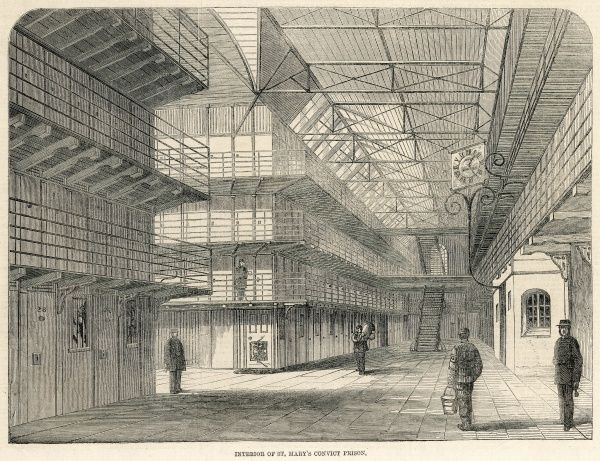 The interior of St Mary's Convict Prsion at Chatham, scene of riots amongst inmates in March 1861