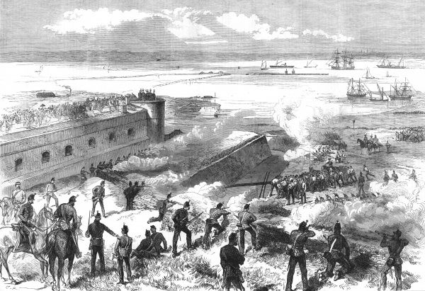 The annual field day and exhibition of siege operations at Chatham, Kent. Watched by a large crowd of spectators, Royal Engineers and other troops of the garrison demonstrate an attack on the Redan using a flying bridge