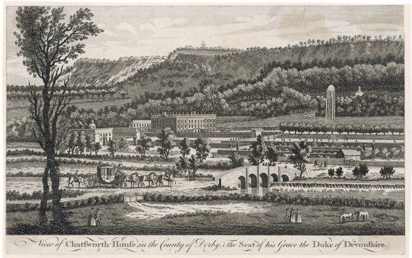 Chatsworth House & its extensive, landscaped grounds in the middle of the 18th century. Avenues of trees, walled gardens, waterworks & fountain are depicted