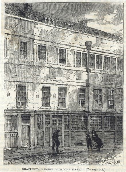 The London home of poet Thomas Chatterton, in Brooke Street