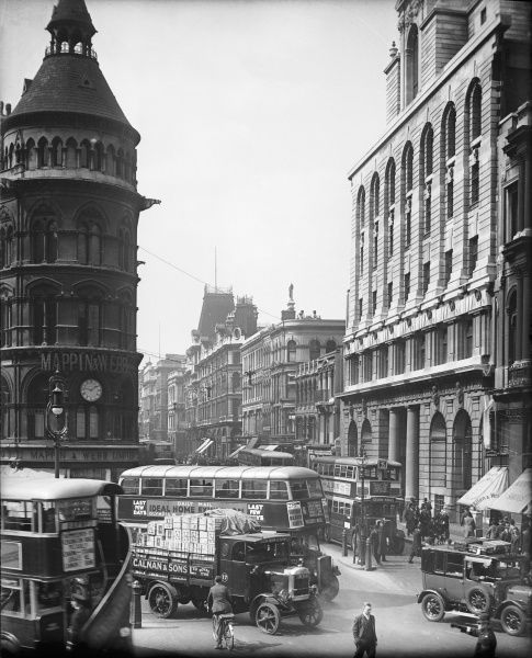 View of Cheapside, City of London, with the distinctive Mappin & Webb corner building, with its clock, on the left of the photograph