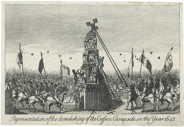 Puritan demonstrations in London against the monarchy. Their actions included pulling down the cross at Cheapside and burning Catholic texts where the cross had stood