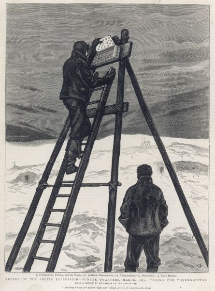 Two members of the British Arctic Expedition of 1875-1876 checking the thermometers used at their Winter Quarters