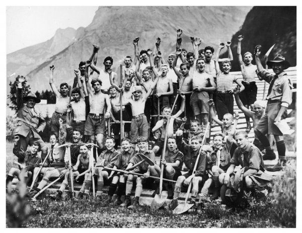 Hip, Hip, Hooray! : Boy scouts from all parts of Europe, including Great Britain, give three cheers for their Chief Scout, Lord Baden Powell, at Kandersley camp