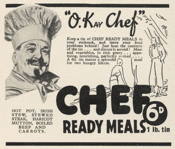 Advertisement for O-Kay Chef Ready Meals. Keep a tin in your rucksack and leave your food problems behind!