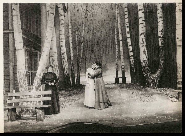 A scene from the 1940 production of Chekhov's classic play, 'THREE SISTERS' performed by the Moscow Arts Theatre