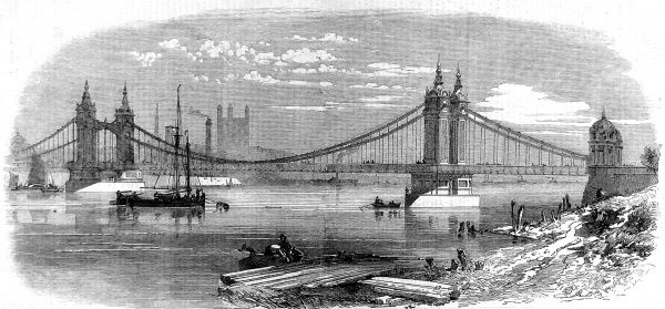 Engraving showing Chelsea Bridge, then newly built, London, in 1858