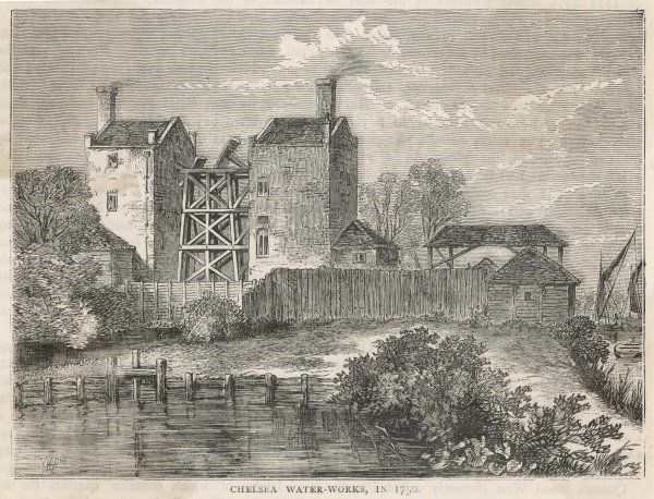 Chelsea waterworks in the 18th century : the Newcomen steam engine which provides the pumping power can be seen between the two brick buildings