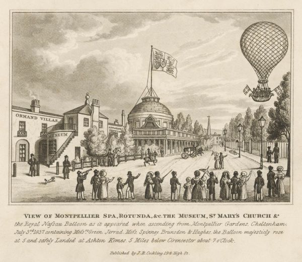 Mr Green and others ascend in a balloon near the Rotunda of Montpellier Spa, Cheltenham : it will land safely at Ashton Kenes, near Cirencester