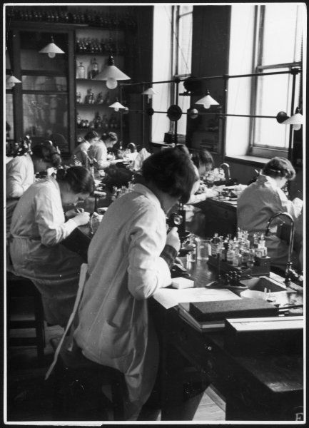 Female students at the Royal Free Hospital Medical School, London studying Chemistry and Biochemistry, learning the secrets of cell structure and minute organisms