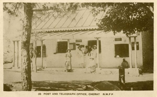 Post and Telegraph Office at Cherat - a hill station in Nowshera District in the North West Frontier Province (now Pakistan)