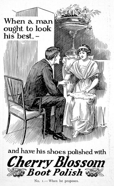 Advertisement for Cherry Blossom boot polish from 1913, showing a young man proposing