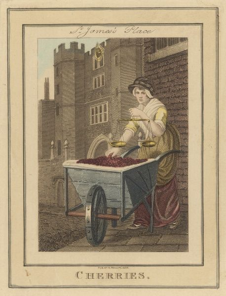 Selling cherries from a barrow in Saint James's Place, London