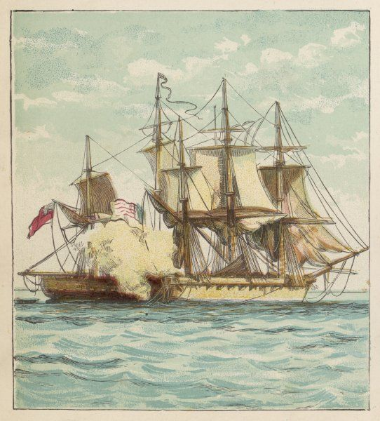 The British frigate 'Shannon' in combat with and eventual victor over the American 'Chesapeake&#39