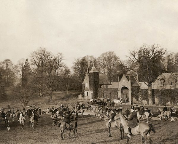 A fashionable meet of the Cheshire Hunt at Combermere Abbey, the home of Katherine, Duchess of Westminster. The Cheshire Hunt was founded in 1763