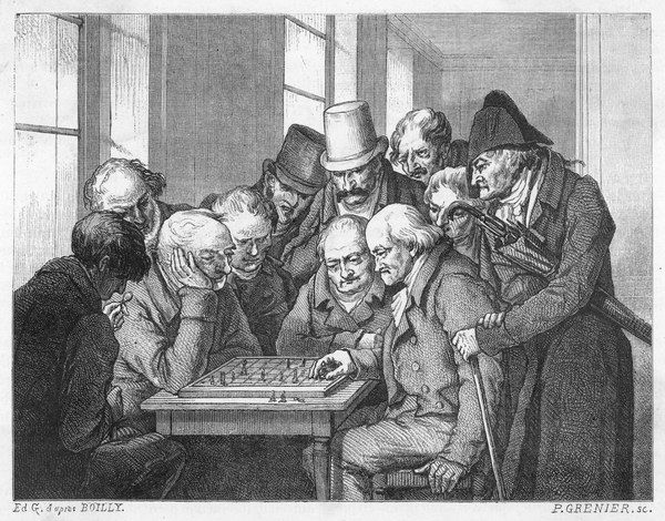 A game of chess at the Cafe de la Regence, Paris, with several on-lookers