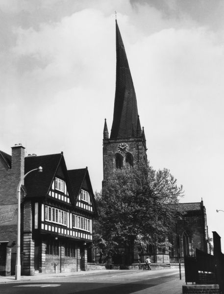 The spire of Chesterfield Church, Derbyshire. The Devil wound his tail around the spire, but the incense from a Mass service made him sneeze and bent the spire!