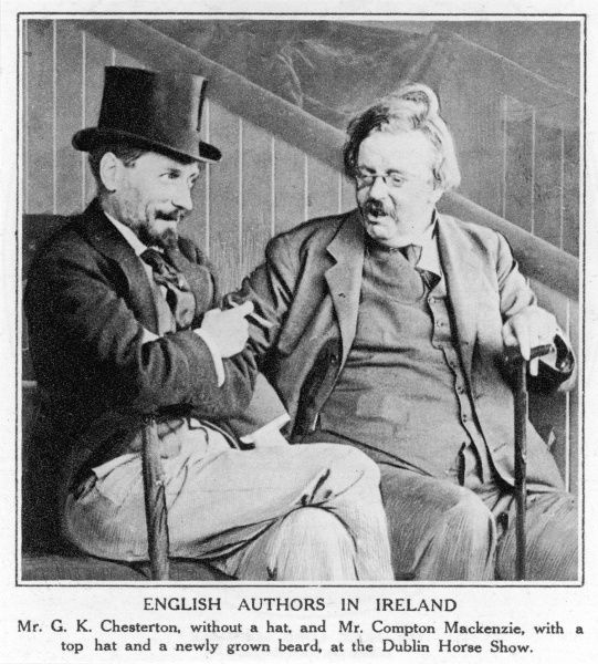 GILBERT KEITH CHESTERTON without a hat, and Compton Mackenzie in a topper, at the Dublin Horse Show. They are probably not discussing horses