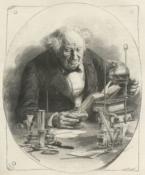 MICHEL-EUGENE CHEVREUL French chemist in his laboratory
