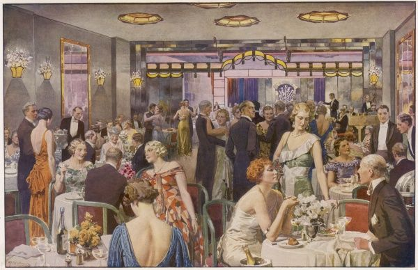 Scene at Quaglino's restaurant in Bury Street from 1932 showing diners in evening dress, at tables, chatting or dancing. Originally established in 1929, Quaglino's was the most famous of London's 'society' restaurants
