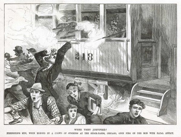 Strikers in Chicago riot at the McCormick Reaper Works; police, aided by Allan Pinkertons's men (US Secret Service head) fire into the crowd