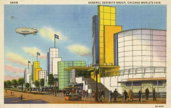 Chicago World Fair - General Exhibits Group, housing the Graphic Arts, furniture, office supply, cosmetic, leather, sporting goods and jewellery industries. Date: 1933