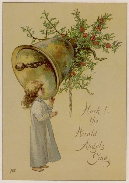 'Hark the herald angels sing..' a child in her nightdress, a bell, some holly