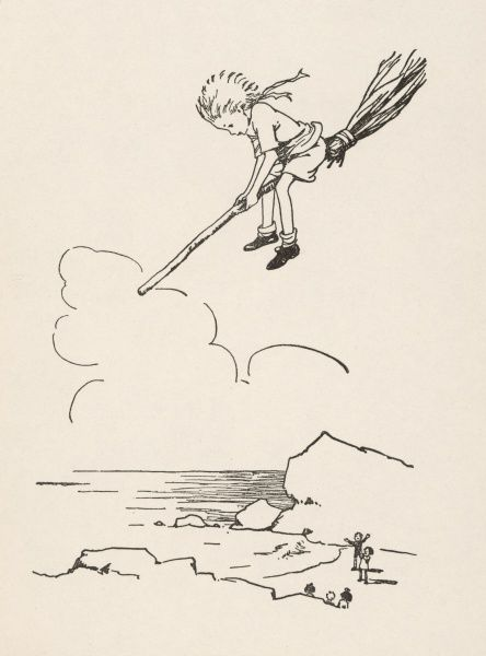 A small child flies through the air on a broomstick, watched by his companions on the ground