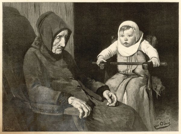 An elderly woman and young child sit helplessly in their chairs, both staring out blankly at the world around them