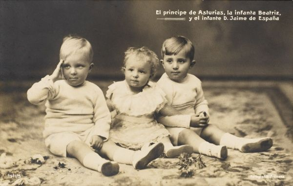 The Prince of the Asturias (left), the Infanta Beatriz and the Infante Jaime of Spain, three eldest children of King Alfonso XIII and Princess Ena of Battenberg. Date: c.1910