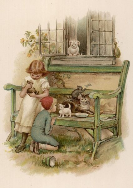 A boy and a girl play with a cat and her three kittens on a garden bench, while their puppy looks out at them through an open window