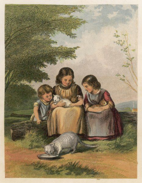 Three children and their cats, one of which is drinking milk from a dish