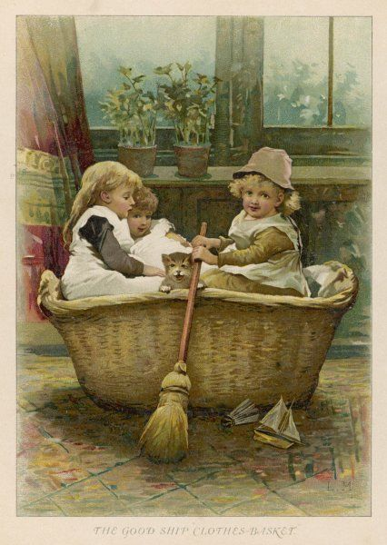 Three children and their cat row out to sea in the Good Ship Clothes-Basket